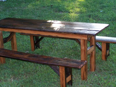 Cowboy picnic style table and benches 325 and up for 100 year old oak table