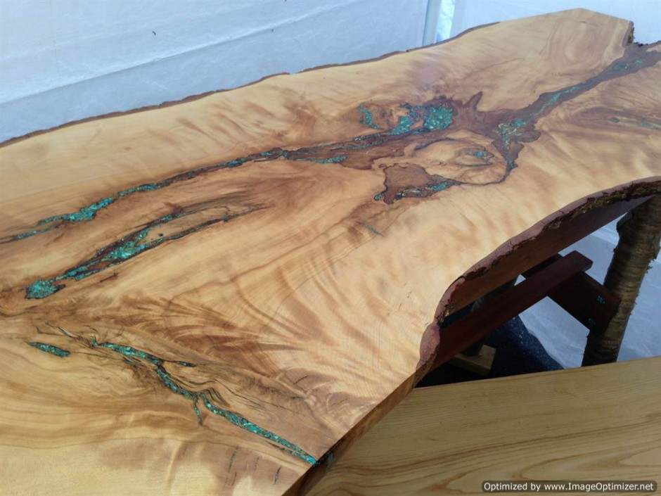 Turquoise Inlay Console Table Rustic Artistry