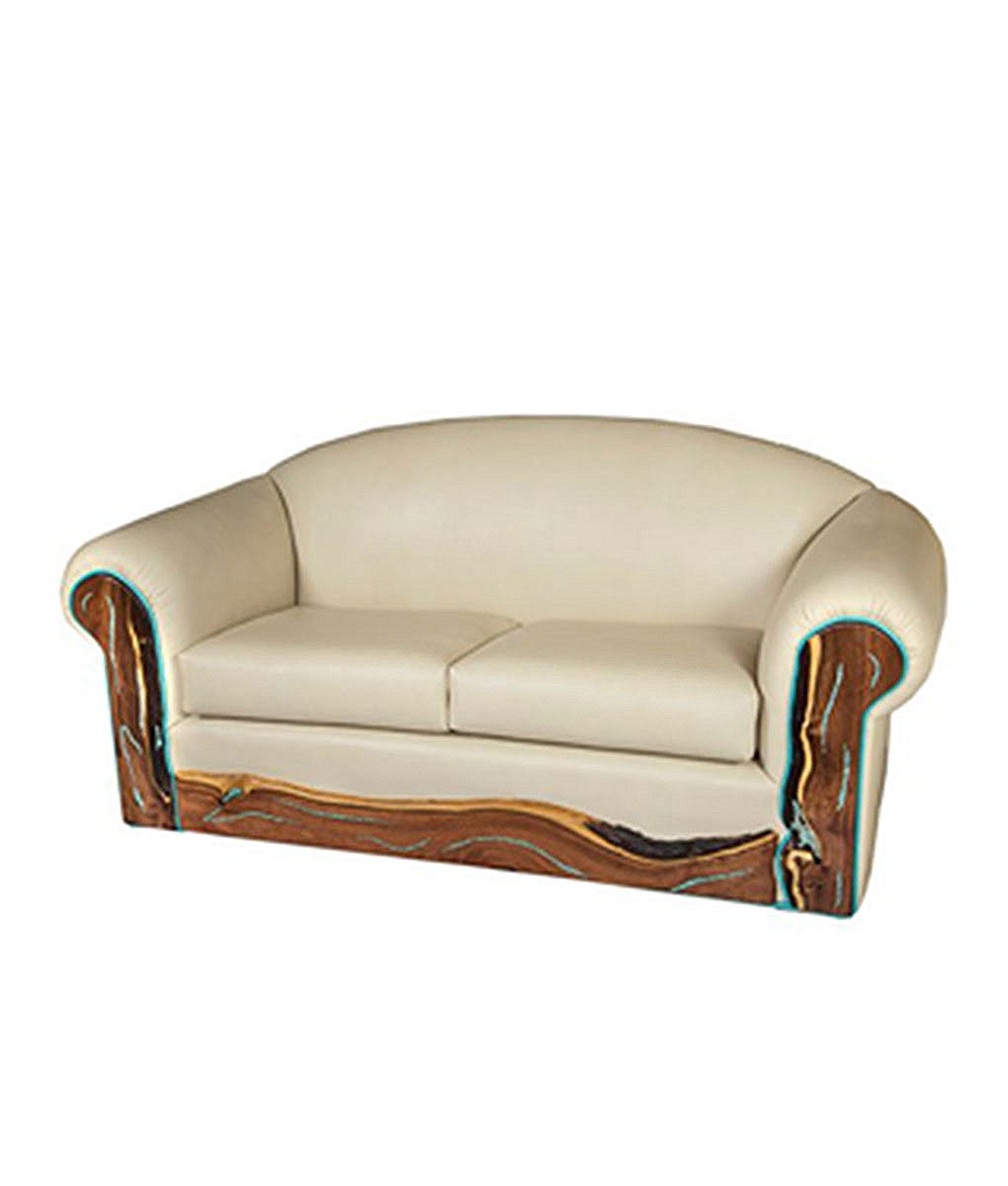 turquoise inlay western leather sofa rustic artistry