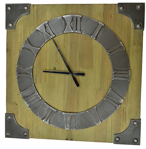 Lulu Decor, Big Rustic Wood Wall Clock with Metal Corners, Frame Size 26.50″, Perfect for Housewarming.