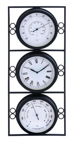 Deco 79 35418 Metal Outdoor Clock Thermometer, 11 by 26-Inch