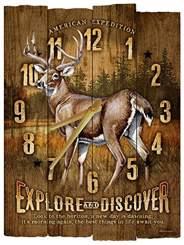 American Expedition Whitetail Deer Wooden Wall Clock
