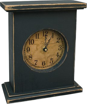 Primitive Country Rustic Wood Mantel Clock