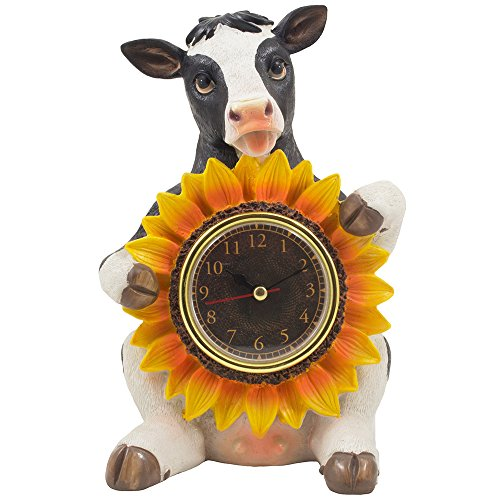 Decorative Holstein Cow Desk Clock with Colorful Sunflower Accent in Rustic Country Kitchen Decor Statues, Sculptures & Clocks to Display on Table, Desktop and Mantel or Rustic Farm Animal Gifts for Farmers