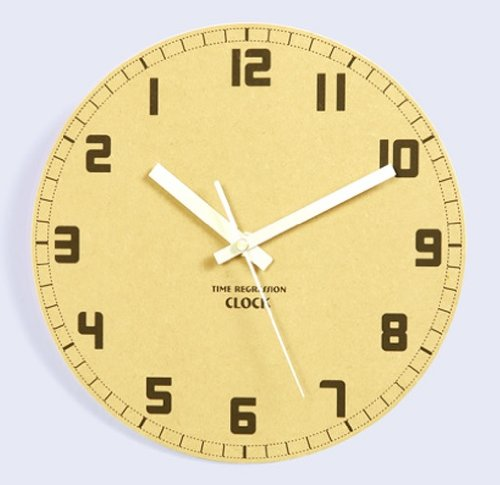 JustNile Rustic Wooden 10″ Non Ticking Wall Clock – Backwards In Time