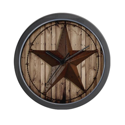 CafePress western texas star Wall Clock – Standard Multi-color
