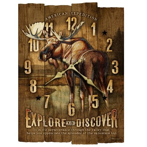 American Expedition Moose Wooden Wall Clock