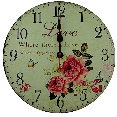 Usmile 12″ Vintage Sweet Rose sing for love style Wooden Wall Clocks Decorative wall clocks Retro wall clocks large wall clocks