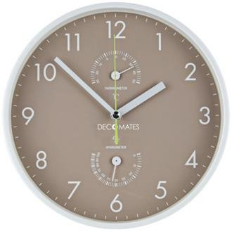 DecoMates Non-Ticking Silent Wall Clock with Built-in Thermometer, Taupe/White