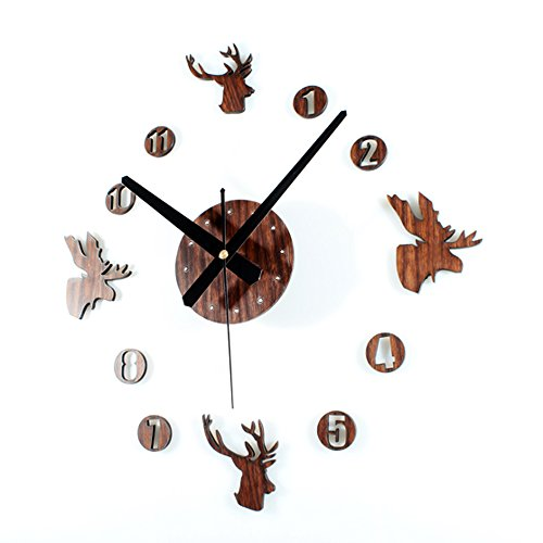 Yikebo(TM) Deer Heads Rustic Creative DIY Self Adhesive Acrylic Living Room Decoration Wall Clock Quartz 3D Digital Home Nursery Room Décor Retro Art Watch (Brown)