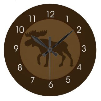 Rustic Moose Lodge Brown Round Large 10.75″ Wall Clock