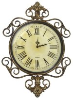 Lulu Decor, Antique Roman Metal Wall Clock in Fleur De Lis Design, Perfect for Housewarming Gift. (Antique)