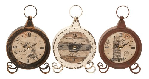 Deco 79 Metal Clock, 3 Assorted, 10 by 7″