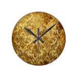 Gold,rustic,vintage,antique,damask,elegant,chic, Round Wallclock