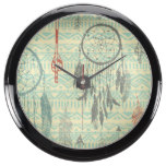 Hipster,tripal,pattern,grunge,retro,trendy,girly, Aquavista Clock