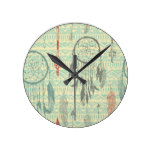 Hipster,tripal,pattern,grunge,retro,trendy,girly Round Wall Clocks