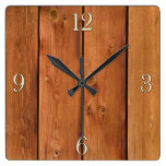 Photo Realistic Rustic, Treated Wood Board Square Wallclock