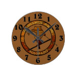 Rustic wood skier Arapahoe Basin Colorado Round Clock