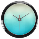 Trendy Aqua Teal to Vintage White Ombre Gradient Fish Tank Clock