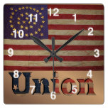 Vintage USA Union Flag Square Wallclock