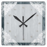 White Lace & Rustic Weathered Faux Wood Square Wallclocks
