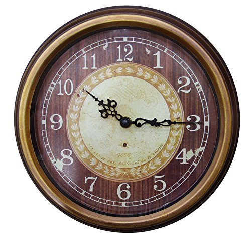 JustNile Classic Vintage Wall Clock – Round 10-inch Antiquated Brown