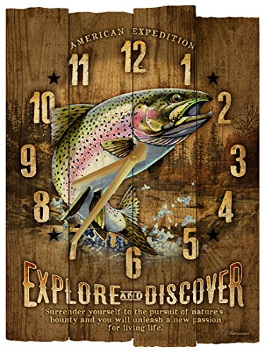 American Expedition Rainbow Trout Wooden Wall Clock