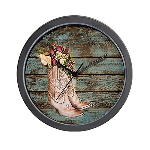 CafePress modern cowboy boots barn wood Wall Clock – Standard Multi-color