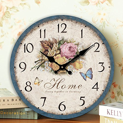 Romantic Roses Clock, 12″ Eruner Country Floral Wall Clock Wooden Art Decor Non-Ticking Home Decoration(C-60)