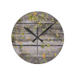 Rustic Chic Wooden Backgrounds Leaves Brown Woods Round Wallclocks
