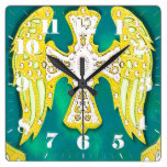 Western Cross, Bling, Yellow Green Leather Look Square Wallclocks