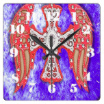 Western Cross, Wings, Bling Red/Blue Leather Look Square Wall Clocks