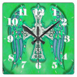 Western Style, Cross on Faux Cowhide Blue/Green Square Wall Clocks