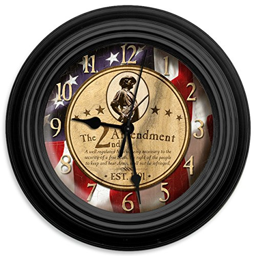 Reflective Art the 2nd Amendment Wall Clock, 10-Inch
