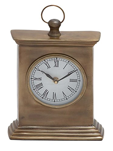 Deco 79 Aluminum Table Clock, 7 by 9-Inch