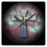 Beautiful Custom Christian Jesus Rustic Cross Square Wallclocks