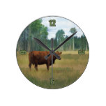 Brown Cow on a Horse and Cattle Ranch Round Wall Clock