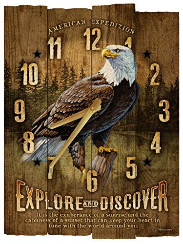 American Expedition Bald Eagle Wooden Wall Clock