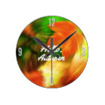 """Hello Autumn"" Fall Painting Round Wall Clock"