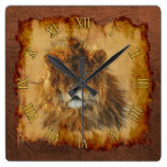 Male African Lion Big Cat & Faux Leather II Square Wall Clock