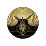 royal,gold,fleur de lis,pattern,on black,elegant, round wall clocks