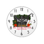 Rustic Chalkboard and Ivy Welcome Back to School Round Clock