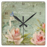 Summer at the Cottage Roses Bicycle Butterfly Bees Square Wallclocks
