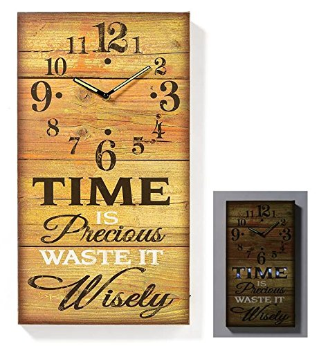 LED Lighted Time is Precious Sign Clock