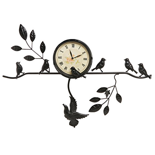 Decorative Black Tree Branch & Birds Design Vintage Style Analog Roman Numeral Metal Wall Clock – MyGift®