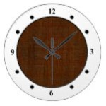 Rustic Bamboo Wood Grain Texture Look Wall Clocks
