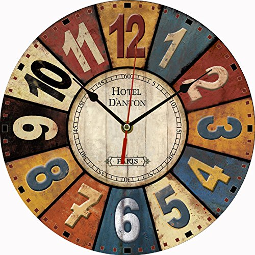 BLABLABLA 12″ Vintage European Creative Frameless Wooden Electronic Wall Clock of French Country Tuscan Style