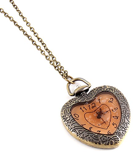 Fashion Jewelry Women's Novelty Heart Clock Necklace (13786)