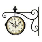 ?SALE?Adeco Black Wrought Iron Vintage-Inspired Train Railway Station style Round Chandelier Double Side Wall Hanging Clock with Scroll Wall Side Mount Home Decor