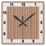 Basketweave Tan Diagonal Weave Square Wall Clocks